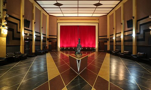 The Paragon Theatre main hall with its magnificent hand painted floor.