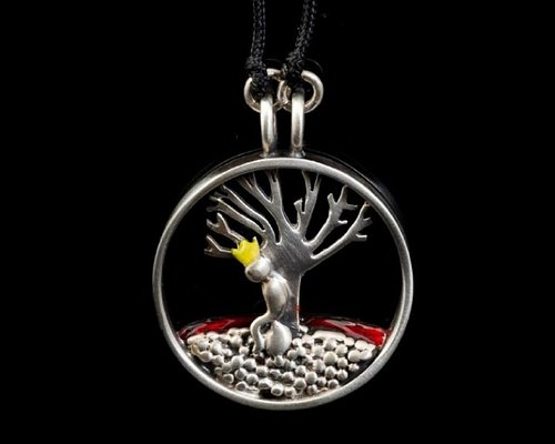 """A story telling, hand made Silver 925 pendant,  featuring the """"Little prince"""". Made by one of our most favorite artists Thodoris Christogiannis."""