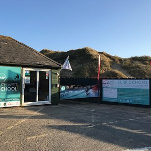 The front of our Surf School, located on the beach at Croyde.