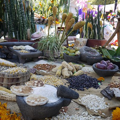 Traditional altars in the sapo square for the day of the dead, Puebla.