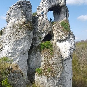 below the 'window' there is a small cave