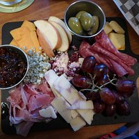 Ploughmans plate - excellent mix of fruit, bread, meat and cheese with chutney