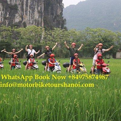 Ninh Binh motorbike tour ride through rural villages and rice paddies fileds