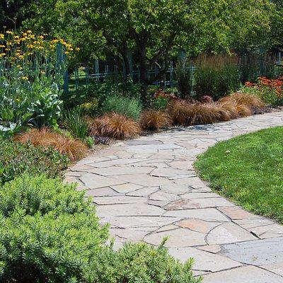 Stone path through the Edwin J. and Ida M. Otken Memorial Garden