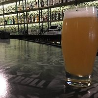 """The main bar and our flagship IPA """"The Artifact"""" brewed by Cushwa Brewing Company"""