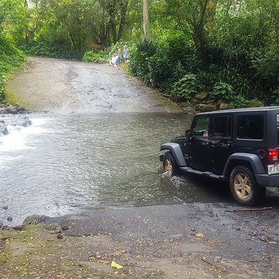 Our friend's jeep entering the river. This is the road toward the falls. Only distant views of the falls, nothing up close.  County road ends about 1/4 mile where you need to turn around.