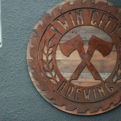 Twin City Brewing's Outdoor Signage (Made from a real Lumber Mill Sawblade!)
