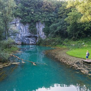 The spring of the Krupa River in Bela krajina region. The river springs under a 30m rocky wall not far from Semič.