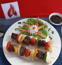 Ostrich meat skewers, marinated, tender, from ostrich farm in Nha Trang, 2 pcs. 115,000 VND (4.95 US$)