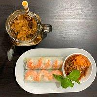 prawn summer rolls & vietnamese iced coffee
