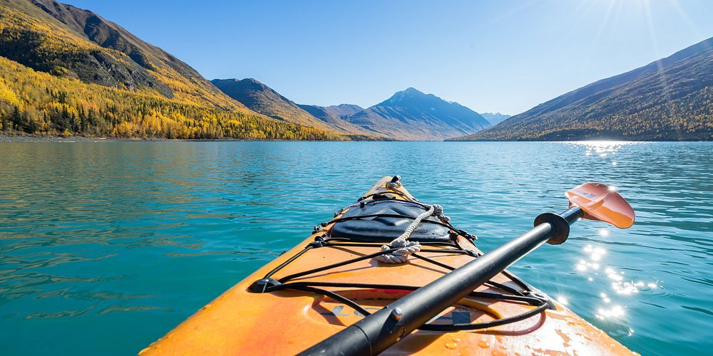 Paddling the glacial Eklutna Lake in Chugach State Park, just north of Anchorage.