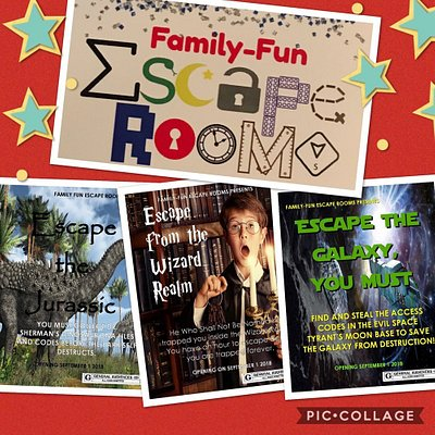 Choose between 5 fully family friendly escape rooms!