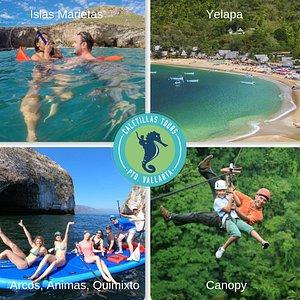 Tours Disponibles a los mejores precios.  Islas Marietas Yelapa Arcos, animas, Quimixto Canopy (Tirolesas)