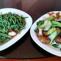 Greens and pork vegetables.