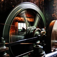 The John Wood & Son steam engine that runs the machinery