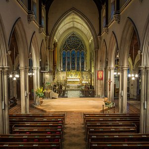 The church looks a lit bigger on the inside!  The chancel is decorated in fine alabaster opus sectile