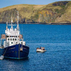 Our boat MV Monadhliath at the Shiant Isles. We can sometimes take you onshore if you are fit and agile via our small rib.