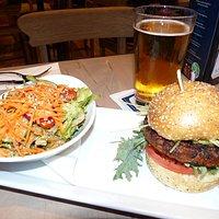 Garden Burger with salad