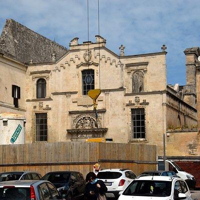 Santa Maria degli Angeli behind construction fencing