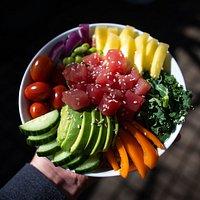 Our custom made tuna poke bowl.