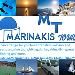 We offer transfers for your wedding,bus tours,volcano and catamaran with full menu tours,donkey and horse riding,diving,hiking,helicopter tours for weddings and more.We are here to organize together your ideal vacations in Santorini. For more info contact us :marinakistours@yahoo.gr