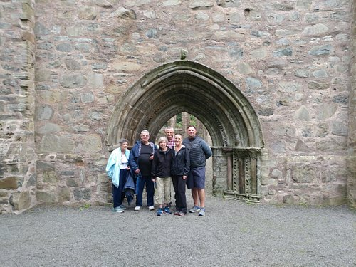 A lovely group of American visitors at Grey Abbey in County Down - impressive medieval ruins.