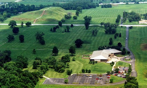 aerial view of Interpretive Center and Monks Mound