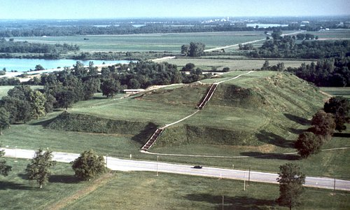 Monks Mound--100 feet high, largest prehistoric earthwork in the Americas