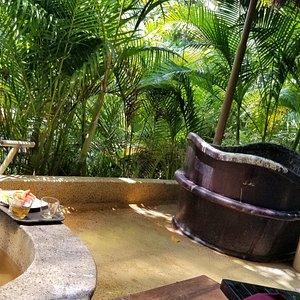 Private mud bath and tea spa area.