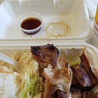 BBQ chicken mini-plate lunch w/ a side of teriyaki sauce. Perfectly cooked chicken - yummy mac salad. Winnah winnah!