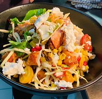 Grilled Chicken + Sweet Potato Salad, with pomegranate, tomatoes, sweet corns, feta, pickled + spiced duchha. #Breakfast #CafeDalchini #DalchiniAlbury #AddALittleSpiceToYourLife #Dinner #AlburyWodonga #AlburyEats #ThisIsTheBorder #LocalBusiness