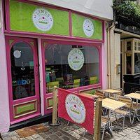 Our very bright and and colourful shop front.