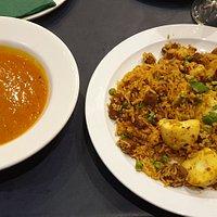 King Prawn and Mutton Biryani Delicious.