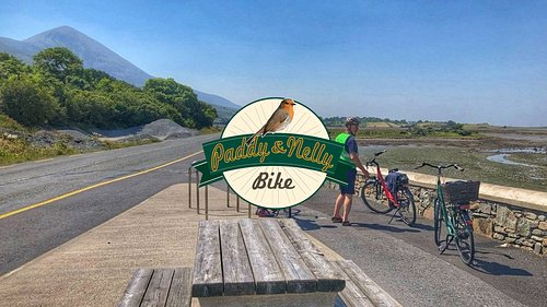 Paddy & Nelly Bike logo, with our customers on the way to Croagh Patrick.
