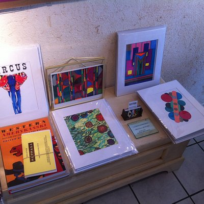 Small prints, and some of Martin's abstract art.