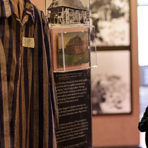 Visitor to the permanent Holocaust exhibition