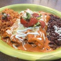 Mushroom Enchiladas, rice and Beans