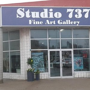 Studio 737 Fine Art Gallery storefront pic taken shortly prior to the Gallery's official opening.  Over 40 Canadian artists represented.  Original artwork only with numerous styles , media & subjects represented.  Well worth a stop on a long trip, for unique gifts, to brighten a home & refresh decor