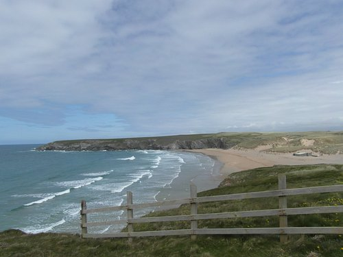 Holywell beach from the cliff tops