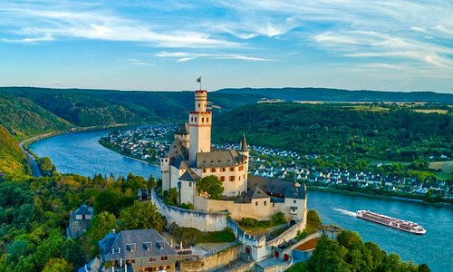 Dramatic views soar to breathtaking heights at the 700-year-old Marksburg Castle, perched high above the romantic Rhine Valley.
