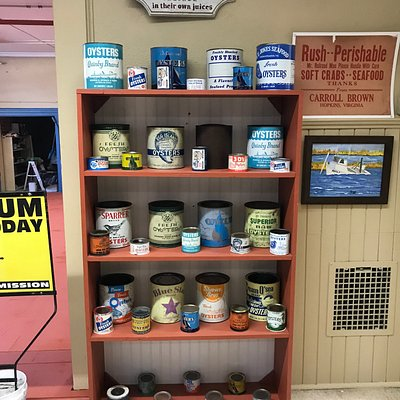Collection of antique oyster cans.