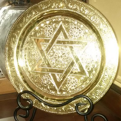 brass platter used for friend's Passover Seder