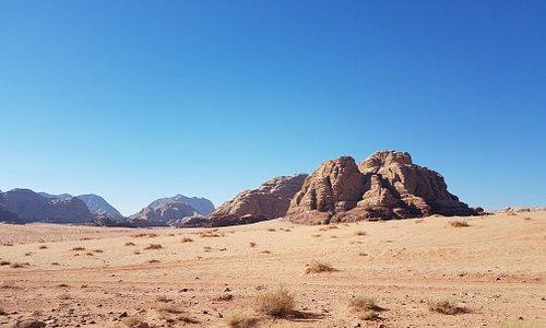 Vue de notre camp bédouin, dans la zone protégée du Wadi Rum.