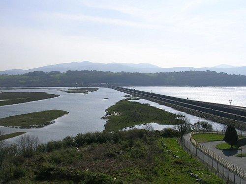 Porthmadog Cob dividing the Estuary (taken from Ynys Tywyn)