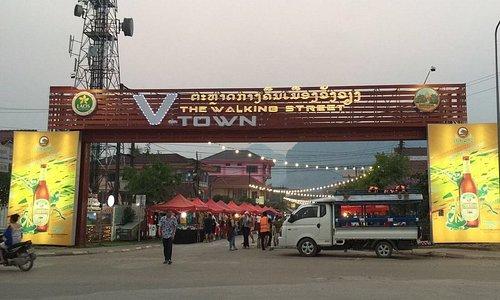 Entrance to Walking Street, Vang Vieng