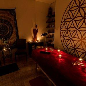Dark massage room.