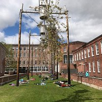 Morning yoga under the hanging trees, Mass MoCA entrance courtyard