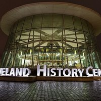 Cleveland History Center sign outside of the Euclid Beach Park Grand Carousel pavilion