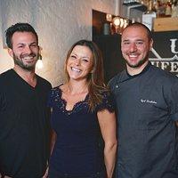 Unser Team um Fabio Gemperli, Tanja Orlando und Küchenchef Cyril Bartholme.