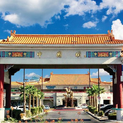 "Grand Gate of Chinatown Plaza. Chinatown Plaza, located five minutes away from The Strip, is a premier shopping center with authentic Asian cuisines and unique retail stores.  Don't forget to take photos with the famous gold statue featuring ""Journey to the West"" when you visit.  For more dining and shopping information, please go to: www.lvchinatownplaza.com."
